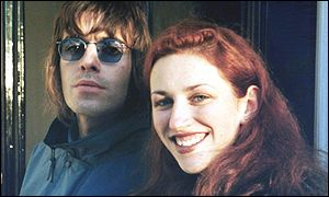 Sarah Lawson with Liam Gallagher (l) outside the Oasis star's London home